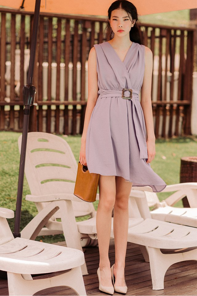 RHEA BUCKLE DRESS IN LAVENDER