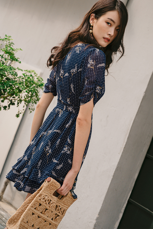 ROWE WRAP DRESS IN NAVY