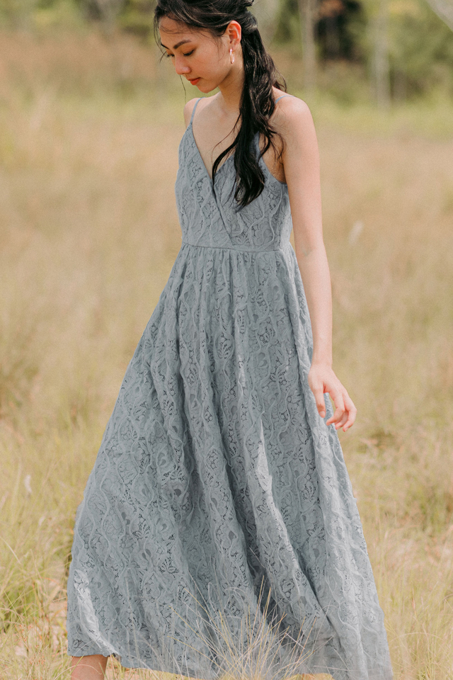 TESSA LACE MAXI IN ASH BLUE