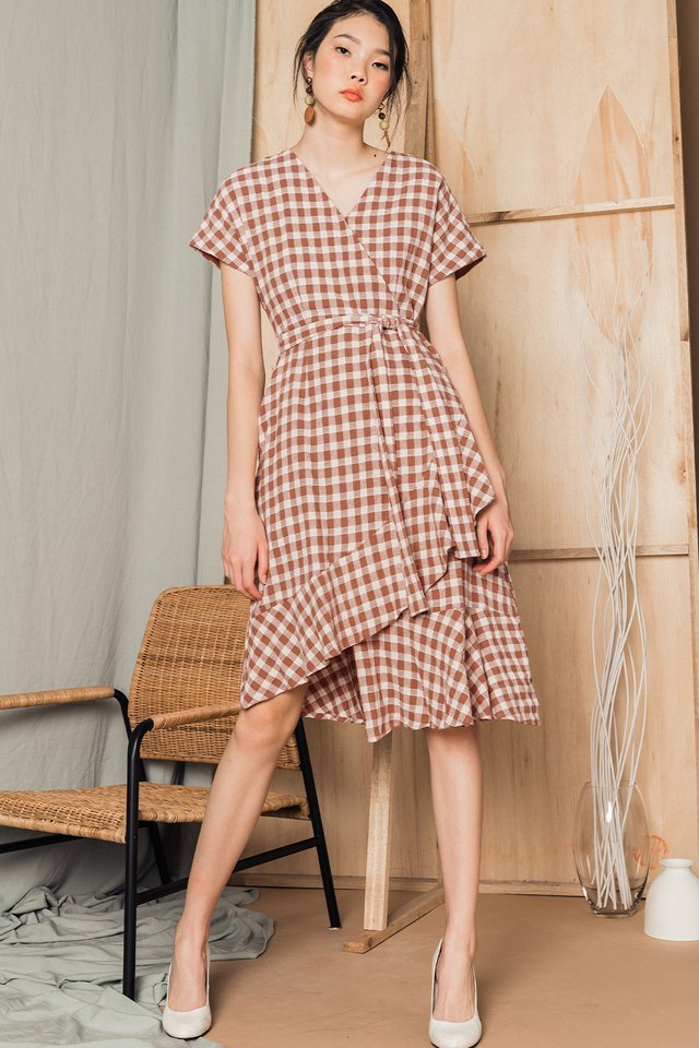 BETTINA GINGHAM MIDI IN ROSE BROWN
