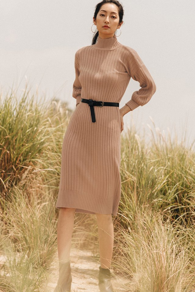 DURHAM KNIT MIDI IN MILK TEA