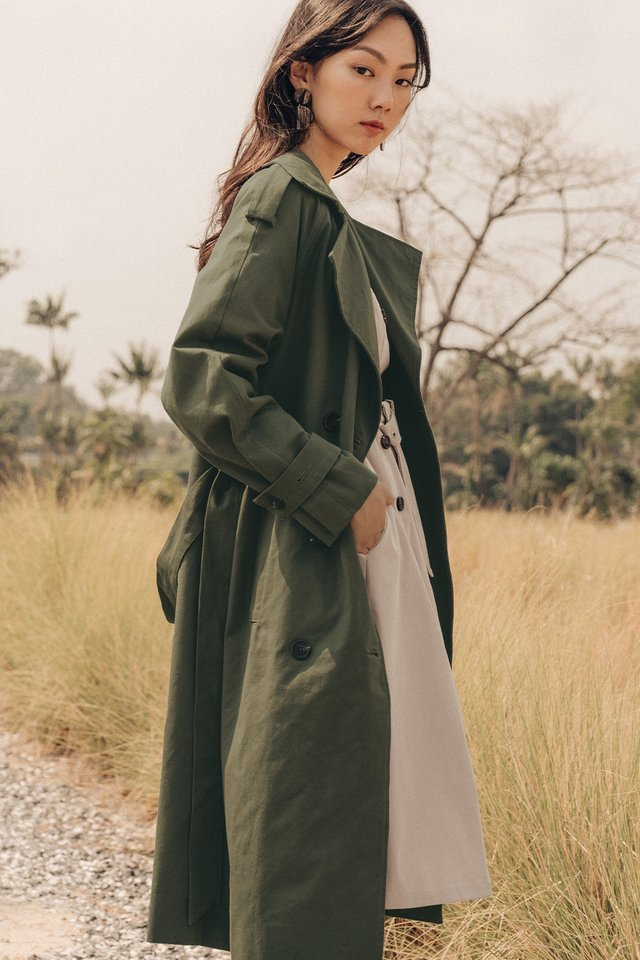 ELLE TRENCH COAT IN MILITARY