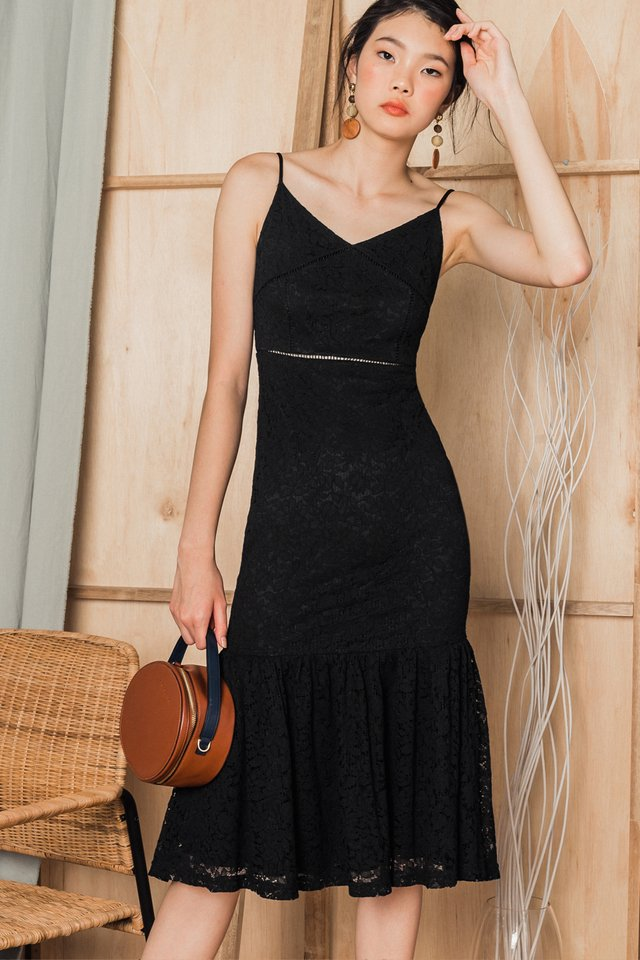 EMORY LACE MIDI IN BLACK