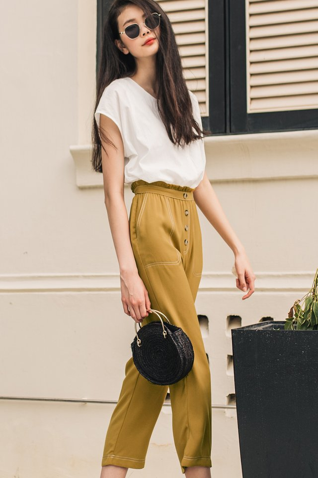 MAEVE TOPSTITCH TROUSERS IN MUSTARD