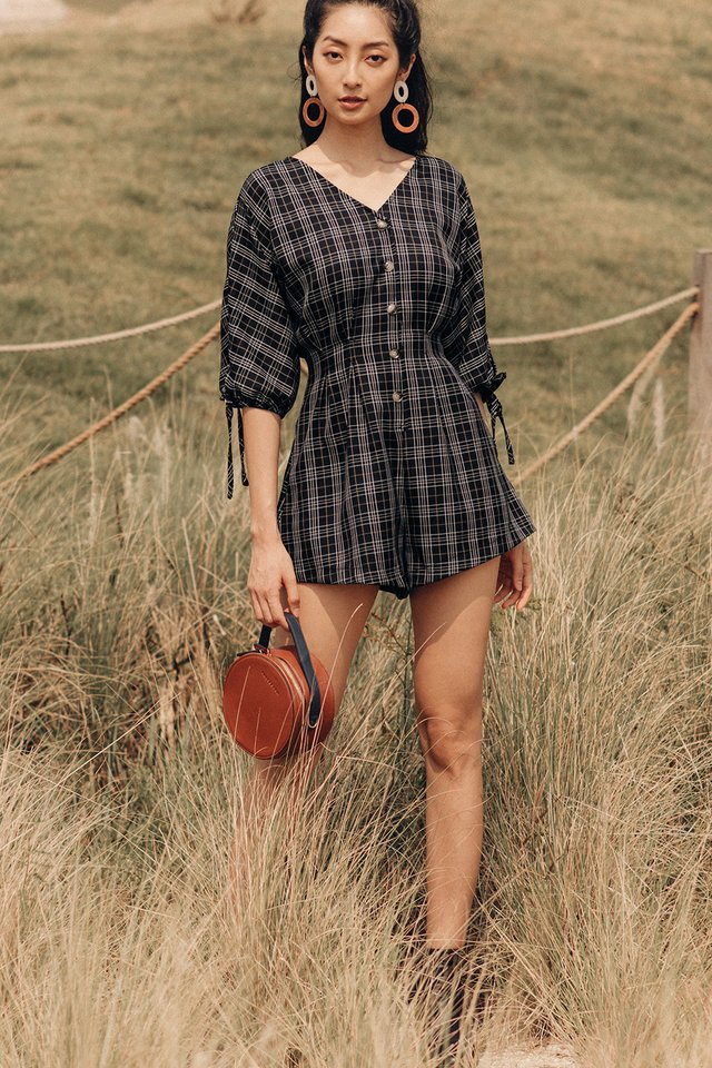 ORLY PLAID PLAYSUIT IN DARK NAVY