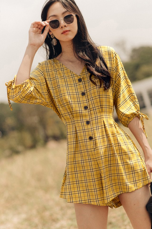 ORLY PLAID PLAYSUIT IN YELLOW