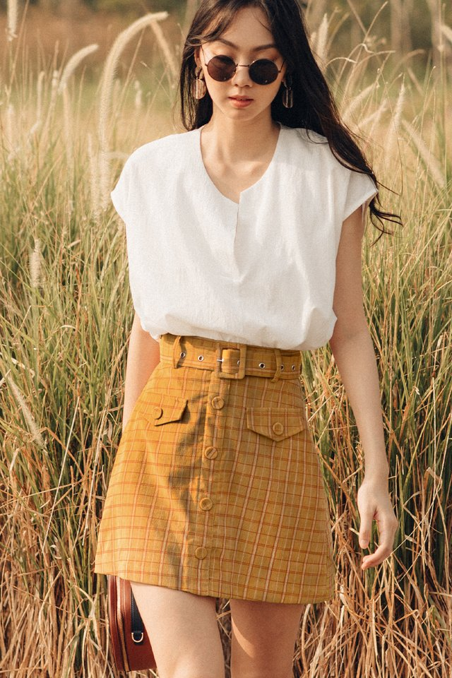 SHEFFIELD PLAID SKIRT IN MUSTARD