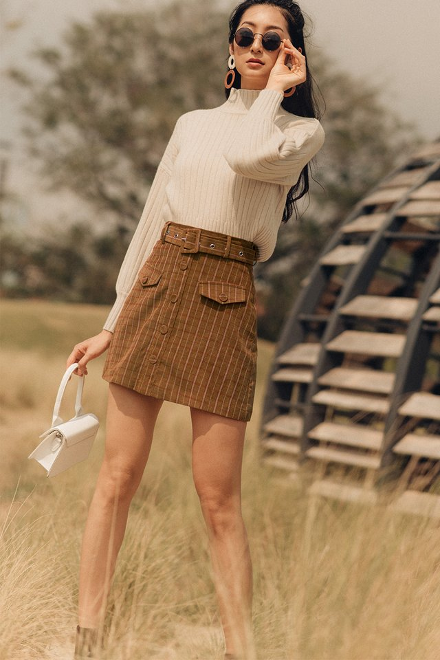 SHEFFIELD PLAID SKIRT IN SEPIA