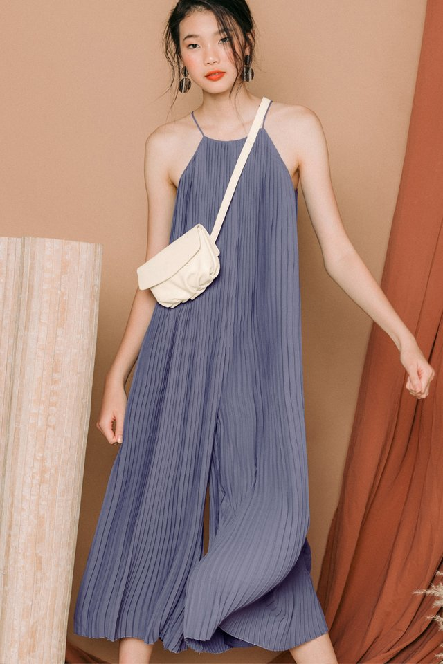 *RESTOCKED* COLETTE PLEAT JUMPSUIT IN DUSK PERIWINKLE