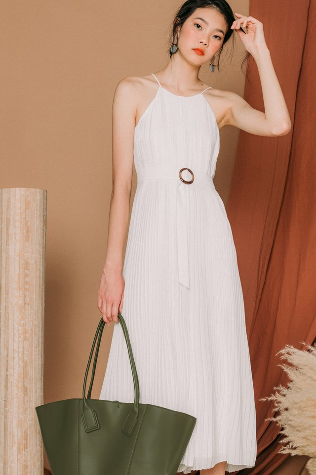 *BACKORDER* COLETTE PLEAT JUMPSUIT IN WHITE