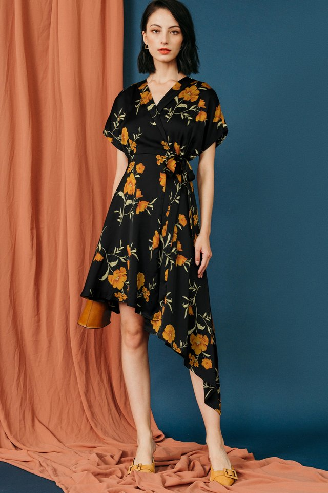 EZRA KIMONO DRESS IN BLACK