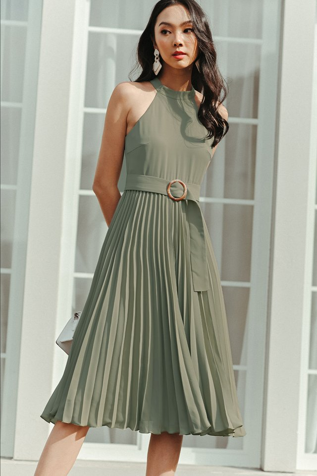 BELOUR PLEAT MIDI IN PISTACHIO
