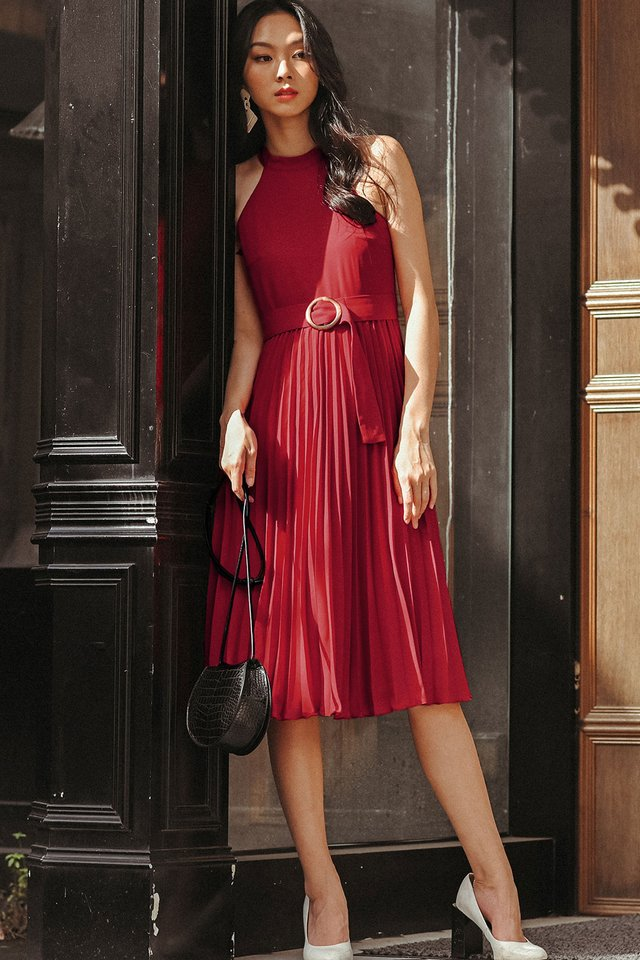 BELOUR PLEAT MIDI IN RED