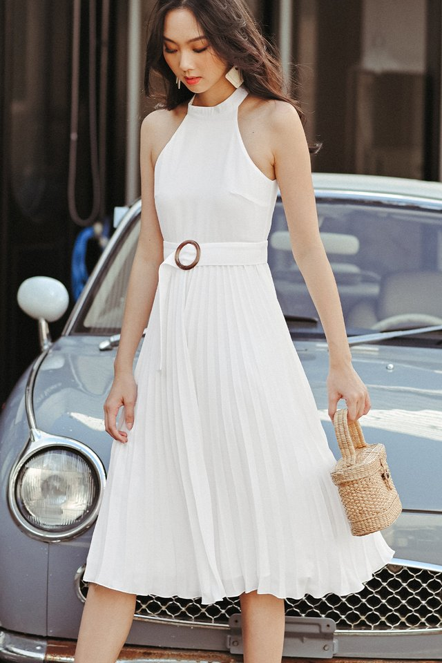 BELOUR PLEAT MIDI IN WHITE