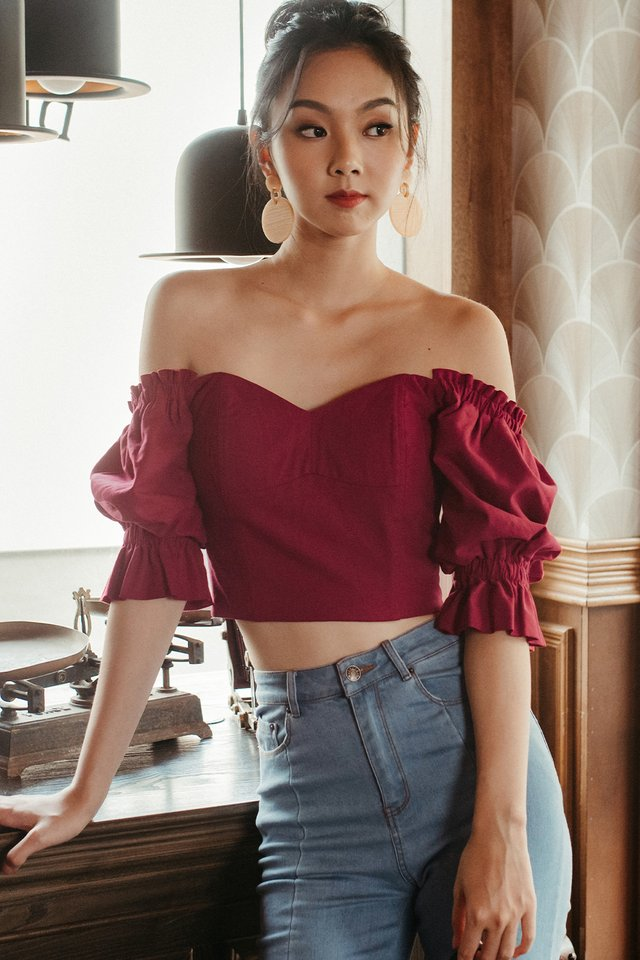 *BACKORDER* BERTHA OFF SHOULDER TOP IN RED