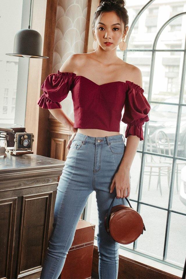 *RESTOCKED* BERTHA OFF SHOULDER TOP IN RED
