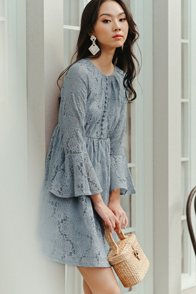 BRITT LACE DRESS IN ASH BLUE