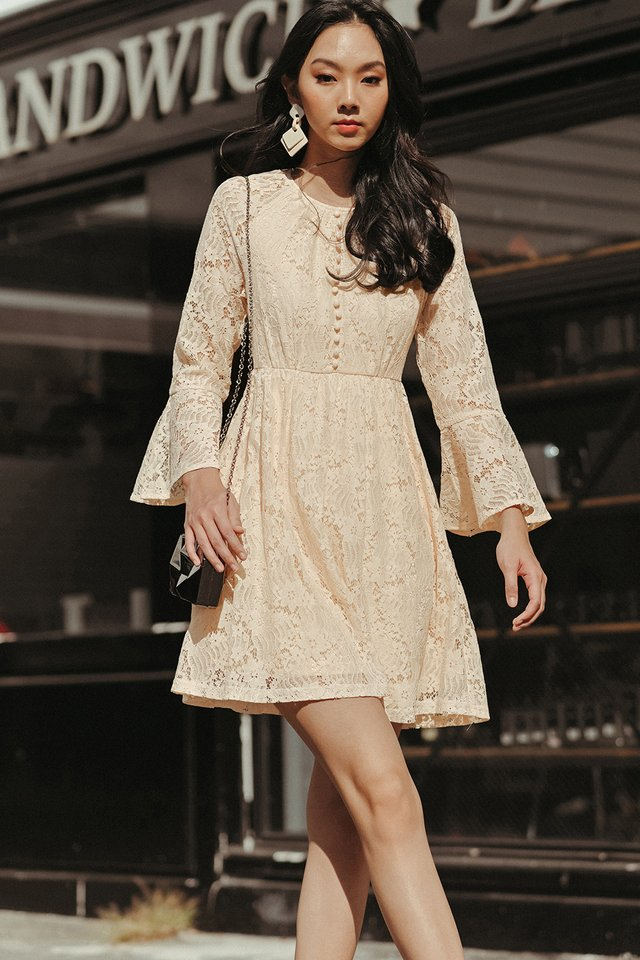 BRITT LACE DRESS IN CREAM