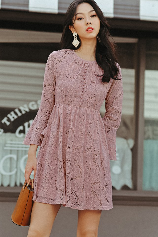 BRITT LACE DRESS IN PINK