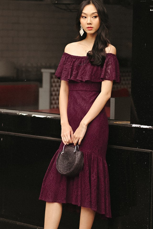 ERIKA LACE MIDI IN WINE