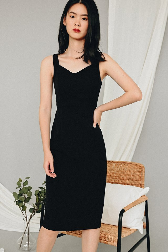 JAYVON SHEATH MIDI IN BLACK