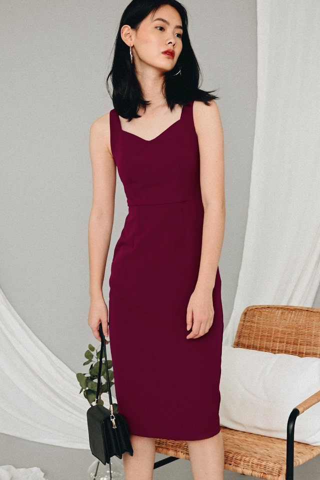JAYVON SHEATH MIDI IN WINE