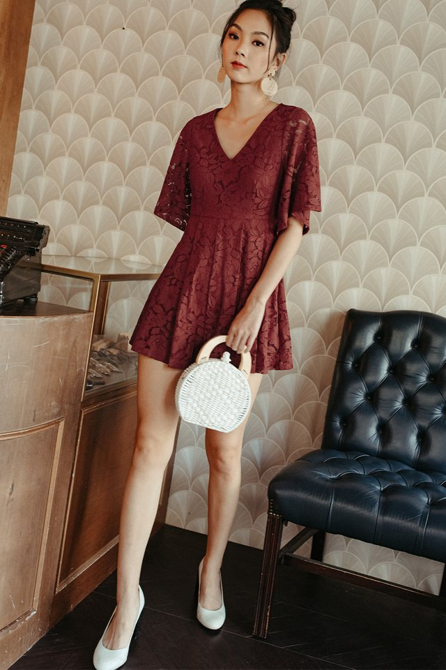 KAI LACE PLAYSUIT IN RUST RED