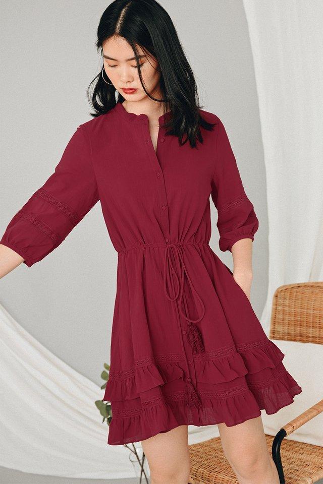 KELLIAH DRESS IN WINE RED