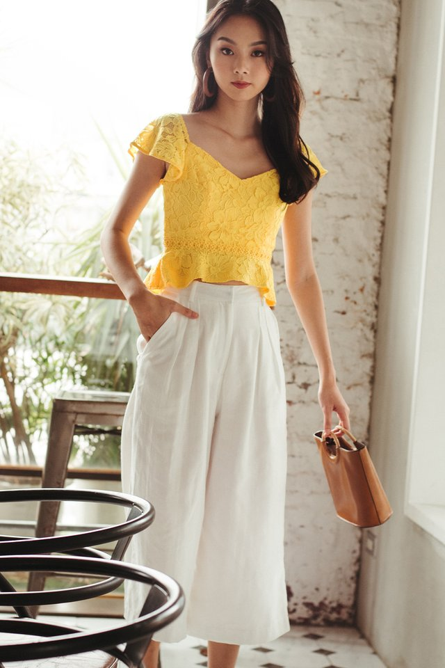 CHANNAY LACE TOP IN YELLOW