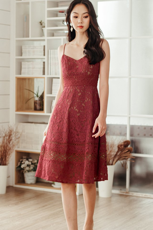 HARLEY APPLIQUE LACE MIDI IN DUSK ROSE