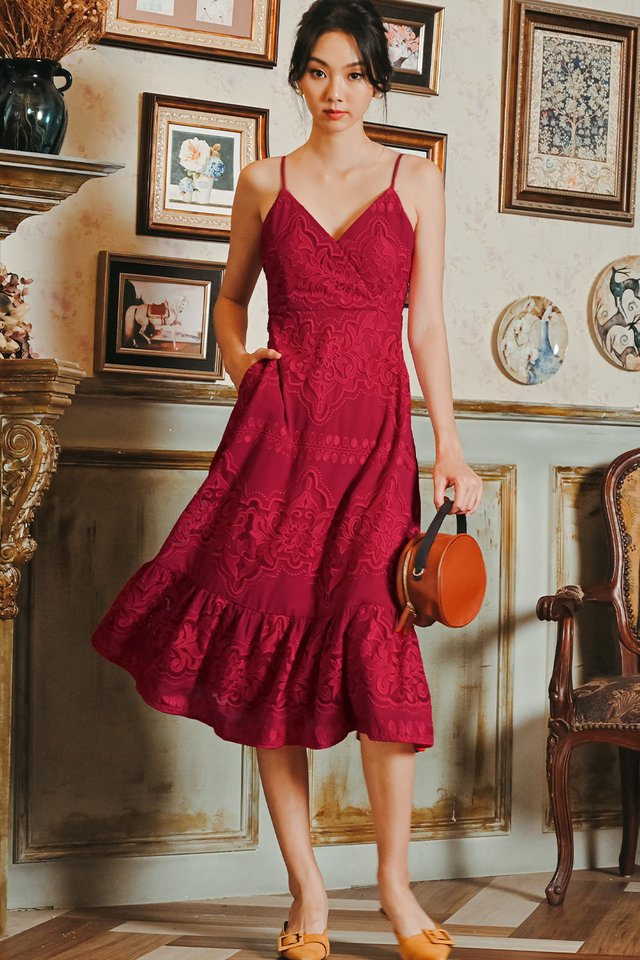 JAXON ORGANZA MIDI IN RED