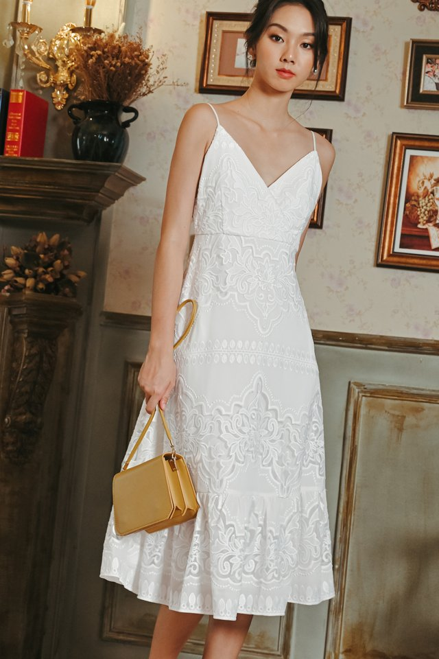 JAXON ORGANZA MIDI IN WHITE