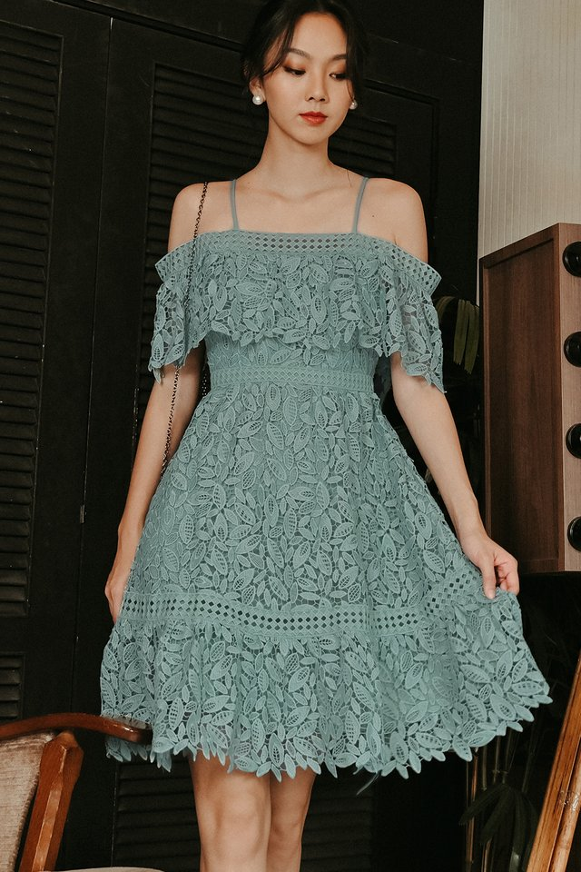 KADEE CROCHET DRESS IN SEAFOAM