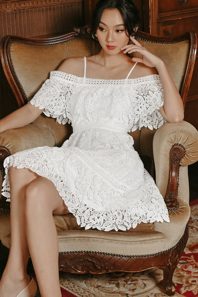 KADEE CROCHET DRESS IN WHITE