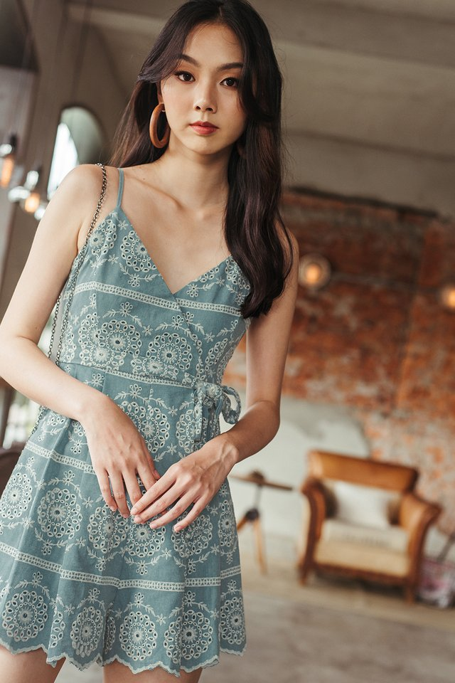 KEIRO EMBROIDERY PLAYSUIT IN SEAFOAM