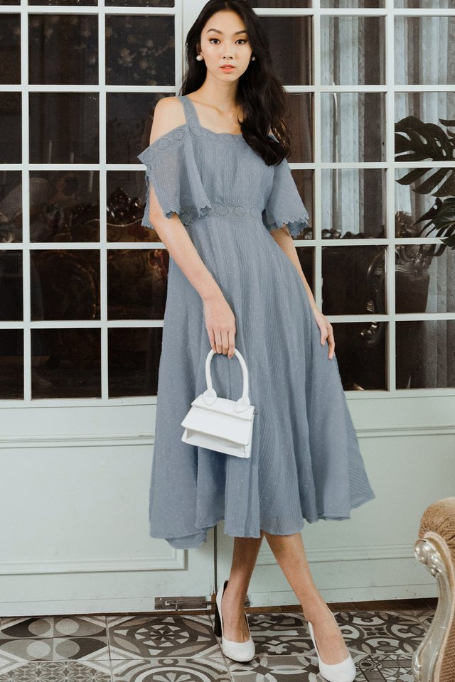MADELAINE CREPE MAXI IN ASH BLUE
