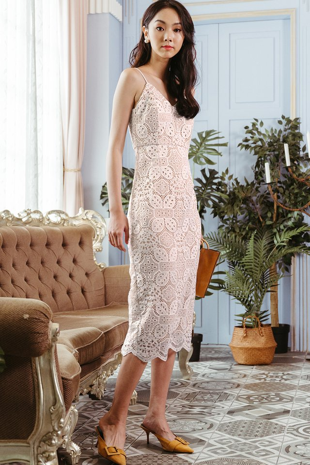 MARQUIS CROCHET SHEATH MIDI IN WHITE