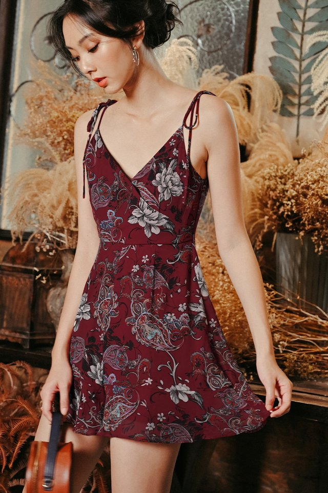 MIRRE PLAYSUIT IN WINE RED