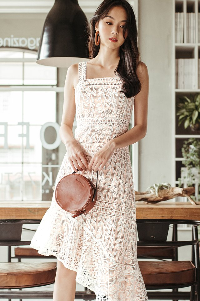 *BACKORDER* NARELLE CROCHET MIDI IN WHITE