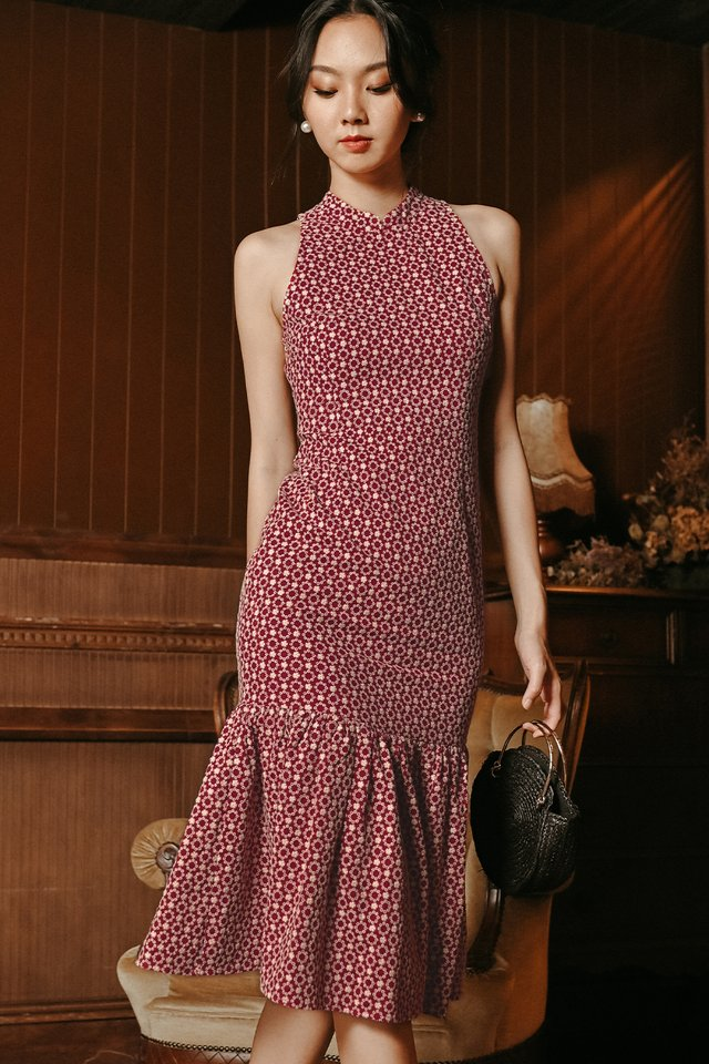 ORIENTAL EYELET CHEONGSAM IN WINE RED