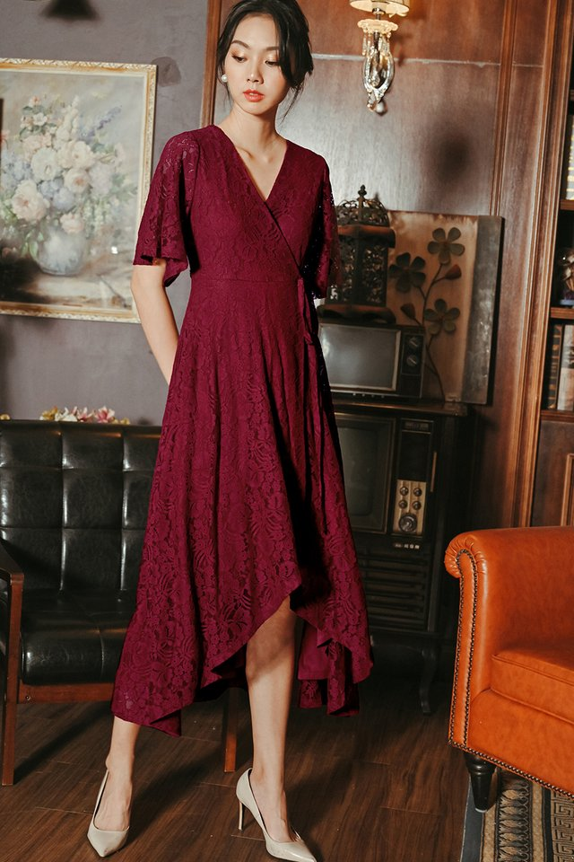 ROWAN LACE MAXI IN WINE RED