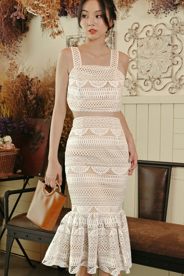 VINO CROCHET MIDI IN WHITE
