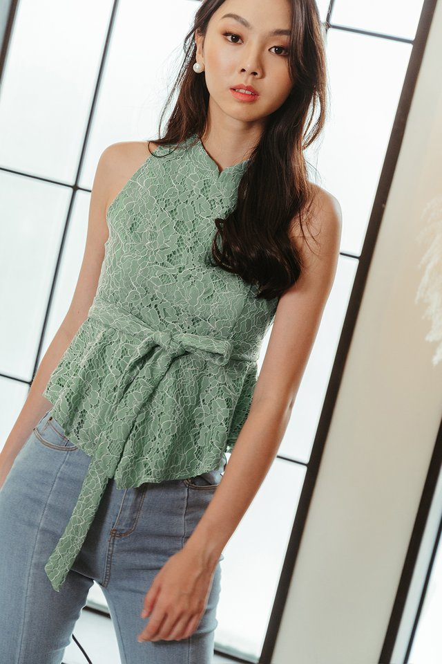 WILLOW LACE PEPLUM IN SEAFOAM