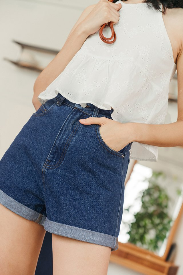 *BACKORDER 2* KAYDEN DENIM SHORTS IN DARK WASH