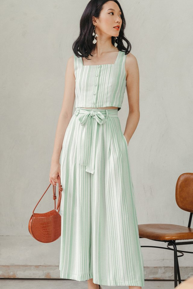 PARKER STRIPED PANTS IN LIGHT SEAFOAM