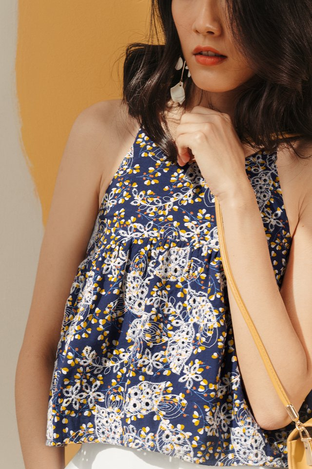 ALBY EMBROIDERY HEARTS BABYDOLL IN NAVY