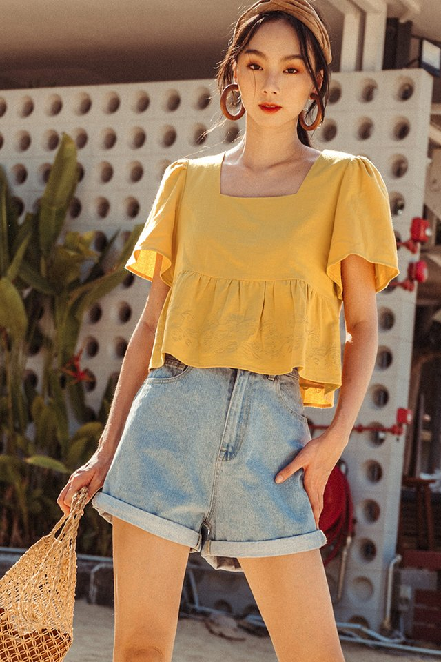 *RESTOCKED* NILO EMBROIDERY TOP IN MUSTARD