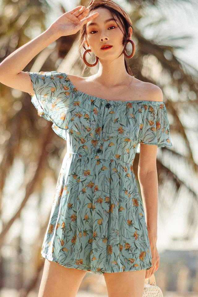 WINONA OFF SHOULDER PLAYSUIT IN SEAFOAM BLUE
