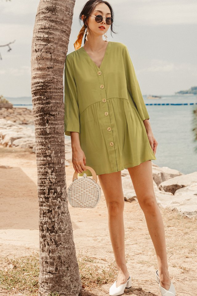 *BACKORDER* DAVEY PLAYSUIT DRESS IN OLIVE