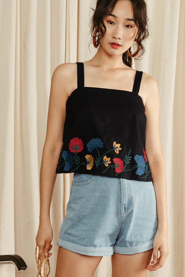 CLAIRA EMBROIDERY TOP IN BLACK